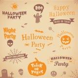 Insieme delle etichette e degli elementi di Halloween Illustrazione di vettore Vector il modello per il disegno Fotografie Stock