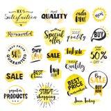 Insieme delle etichette e dei distintivi disegnati a mano dell'acquerello da vendere Fotografia Stock