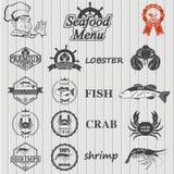 Insieme delle etichette e dei segni dei frutti di mare Fotografia Stock