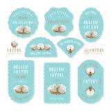 Insieme delle etichette e del logo per la fabbricazione del cotone Fotografia Stock