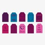 Insieme delle etichette felici del regalo di giorno di biglietti di S. Valentino Fotografia Stock Libera da Diritti