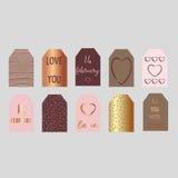 Insieme delle etichette felici del regalo di giorno di biglietti di S. Valentino Immagine Stock Libera da Diritti