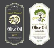 Insieme delle etichette per gli oli d'oliva Progettazione elegante per l'imballaggio dell'olio d'oliva royalty illustrazione gratis