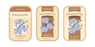 Insieme delle etichette per olio di semi di lino Immagine Stock