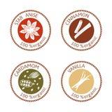 Insieme delle etichette piane del bollo delle spezie 100 organici accumulazione Fotografia Stock