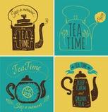 Insieme delle etichette sul tè di tema Logo del tè Fotografia Stock Libera da Diritti