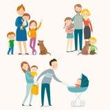 Insieme delle famiglie felici con i bambini e gli animali domestici illustrazione vettoriale