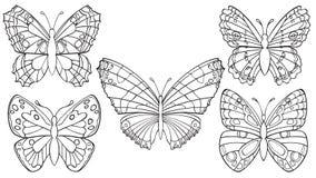 Insieme delle farfalle Fotografia Stock Libera da Diritti