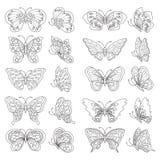 Insieme delle farfalle - in bianco e nero Fotografia Stock