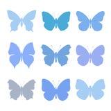 Insieme delle farfalle blu Fotografia Stock
