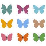Insieme delle farfalle colorate Immagine Stock