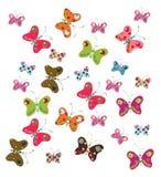 Insieme delle farfalle decorative Fotografia Stock Libera da Diritti