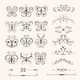 Insieme delle farfalle decorative d'annata Fotografie Stock Libere da Diritti