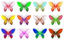 Insieme delle farfalle dei colori differenti isolate su fondo bianco Fotografia Stock Libera da Diritti