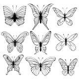 Insieme delle farfalle di vettore Immagini Stock Libere da Diritti