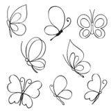 Insieme delle farfalle disegnate a mano Immagini Stock