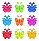Insieme delle farfalle disegnate a mano variopinte isolate su Backgro bianco Fotografia Stock Libera da Diritti