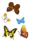Insieme delle farfalle luminose Illustrazione Vettoriale