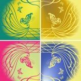 Insieme delle farfalle sul fondo di colore Illustrazione di Stock