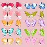Insieme delle farfalle sveglie variopinte Fotografie Stock