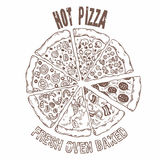 Insieme delle fette di pizza differenti nel vettore Alimento del disegno della mano Fotografia Stock
