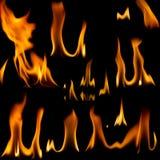 Insieme delle fiamme del fuoco Fotografia Stock Libera da Diritti