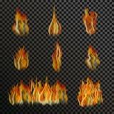 Insieme delle fiamme trasparenti realistiche del fuoco Immagine Stock