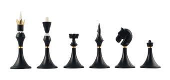 Insieme delle figure nere di scacchi isolate Immagine Stock Libera da Diritti