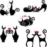 Insieme delle figure stilizzate dei gatti Fotografia Stock Libera da Diritti