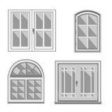 Insieme delle finestre bianche Fotografia Stock