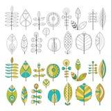 Insieme delle foglie disegnate a mano Immagini Stock Libere da Diritti