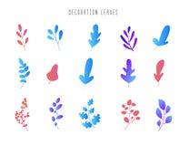 Insieme delle foglie e dei rami per la decorazione Progettazione floreale moderna di pendenza Fondo astratto della flora di vetto illustrazione vettoriale