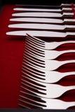 Insieme delle forcelle e dei coltelli in un caso Immagine Stock Libera da Diritti