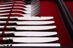 Insieme delle forcelle e dei coltelli in un caso Fotografia Stock