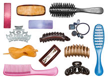Insieme delle forcelle e dei hairbrushes Immagine Stock