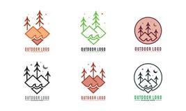Insieme delle foreste con acqua Logo Vector royalty illustrazione gratis