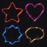 Insieme delle forme al neon degli elementi di progettazione isolato su Backg stellato scuro Immagine Stock