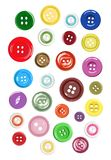 Insieme delle forme differenti dei bottoni per i vestiti Illustrazione di vettore Fotografia Stock