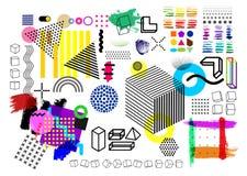 Insieme delle forme geometriche di semitono di tendenza universale giustapposte con la composizione audace luminosa negli element Immagine Stock