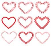 Insieme delle forme ornamentali d'annata dei cuori Rosa rossa Immagine Stock Libera da Diritti