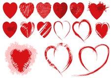 Insieme delle forme rosse del cuore di lerciume Fotografie Stock