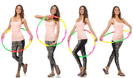 Insieme delle foto con la donna ed il hula-hoop Fotografie Stock