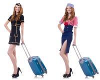 Insieme delle foto con la hostess di viaggio Fotografie Stock