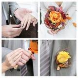Insieme delle foto di cerimonia nuziale Fotografie Stock Libere da Diritti