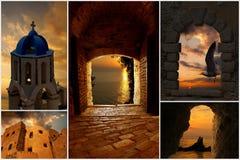 Insieme delle foto di estate al tramonto in Santorini islan Immagine Stock Libera da Diritti