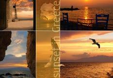 Insieme delle foto di estate al tramonto in Santorini islan Fotografia Stock