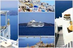 Insieme delle foto di estate nell'isola di Santorini Fotografie Stock