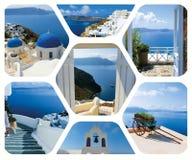 Insieme delle foto di estate nell'isola di Santorini, Grecia Immagine Stock Libera da Diritti