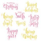 Insieme delle frasi di calligrafia di Natale Fotografie Stock Libere da Diritti