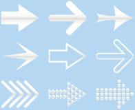 Insieme delle frecce bianche e grige Illustrazione isolata sulla parte posteriore del blu Fotografie Stock Libere da Diritti